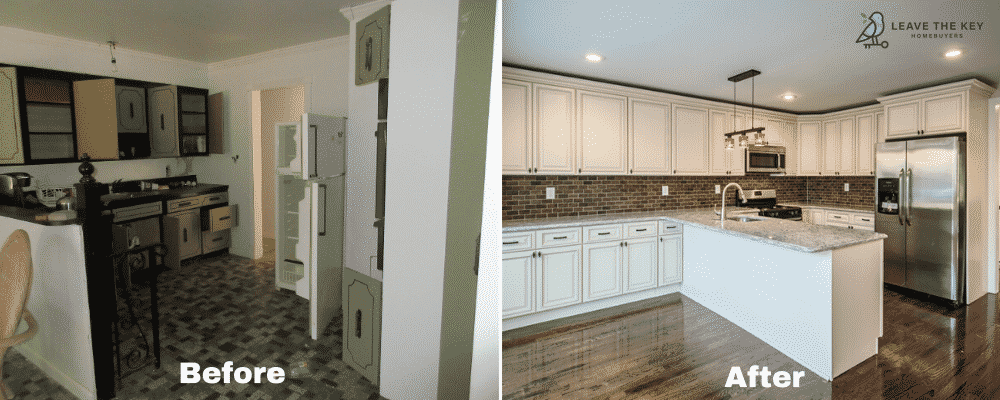 Before and after of a house bought by Leave The Key Homebuyers