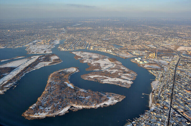 Aerial View of Long Island in Nassau County, NY